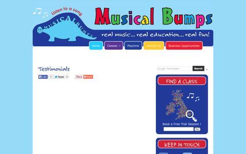 Screenshot of Testimonials Page musicalbumps.com - Testimonials | Music Classes for Children | - captured Oct. 26, 2014