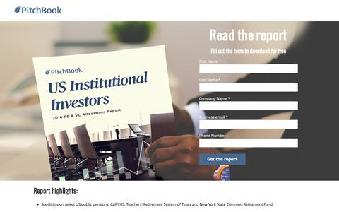 Screenshot of Landing Page pitchbook.com - PitchBook 2016 US Institutional Investors: PE & VC Allocations - captured Dec. 27, 2016