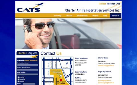 Screenshot of Contact Page flycats.ca - Contact Us. Charter Air Transportation Services Inc. - captured Oct. 2, 2014