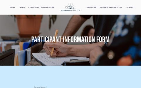 Screenshot of Signup Page lhsi.net - participant information form — Lynn Institute - captured Sept. 30, 2018