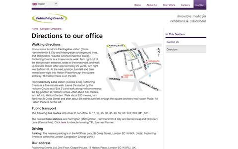 Screenshot of Maps & Directions Page publishingevents.com - Directions to our office | Publishing Events - captured Oct. 3, 2014