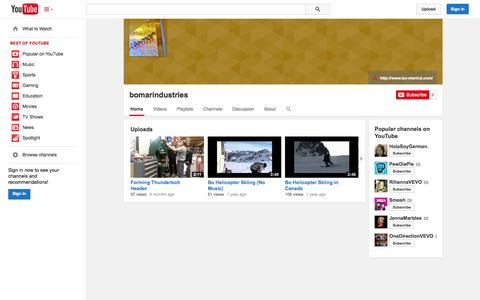 Screenshot of YouTube Page youtube.com - bomarindustries  - YouTube - captured Oct. 23, 2014