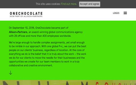 Screenshot of About Page onechocolatecomms.co.uk - About OneChocolate | Award-winning PR and digital marketing agency - captured Oct. 1, 2018