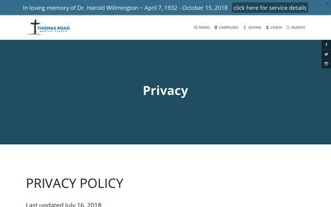 Screenshot of Privacy Page trbc.org - Thomas Road Baptist Church | Privacy - captured Oct. 21, 2018