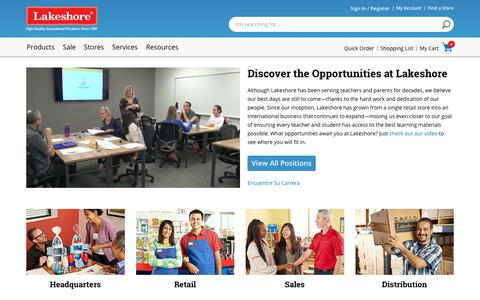 Screenshot of Jobs Page lakeshorelearning.com - Careers   Lakeshore® Learning Materials - captured Sept. 22, 2018