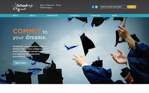 Screenshot of Home Page ischoolhigh.com - iSchoolHigh — Your Choice. Your Challenge. - captured Sept. 30, 2014
