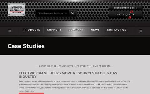 Screenshot of Case Studies Page venturo.com - Case Studies - Venco Venturo Industries LLC - captured May 30, 2019