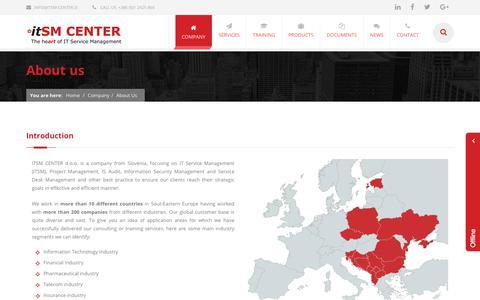 Screenshot of About Page itsm-center.si - ITSMC Center   About us - ITSM CENTER d.o.o. - captured Oct. 14, 2017