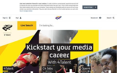 Screenshot of Jobs Page channel4.com - Home - 4Talent - captured Nov. 14, 2015