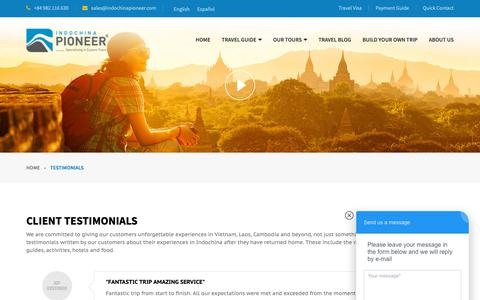 Screenshot of Testimonials Page indochinapioneer.com - Clients Reviews After Their Trip | Indochina Pioneer Tours - captured Oct. 11, 2018