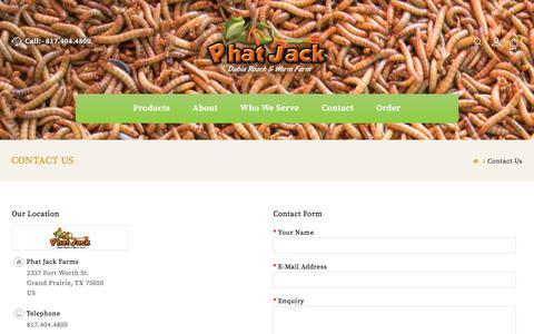 Screenshot of Contact Page phatjackfarms.com - Contact Us - captured July 7, 2018