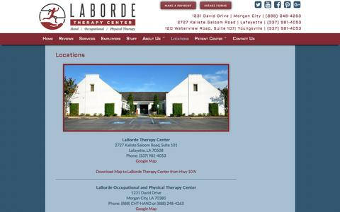 Screenshot of Locations Page labordetherapy.com - Locations - LaBorde Therapy Center - captured Oct. 17, 2016