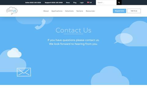 Screenshot of Contact Page cirrusresponse.com - Contact Cirrus - Cloud Contact Centre, Call Handling, Quality Monitoring - captured Nov. 4, 2018