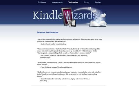 Screenshot of Testimonials Page kindlewizards.com - Kindle Wizards - Testimonials - captured Sept. 30, 2014
