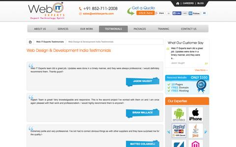 Screenshot of Testimonials Page webitexperts.com - Affordable Web Development in India | Web Designing Company in India | Our Client Testimonials - captured Oct. 26, 2014