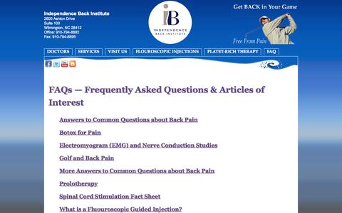 Screenshot of FAQ Page independenceback.com - FAQs - Frequently Asked Questions & Articles of Interest - captured Oct. 6, 2014