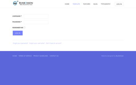 Screenshot of Login Page burbvision.com - Users - captured Nov. 23, 2016