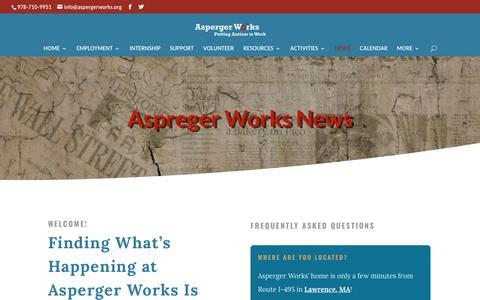 Screenshot of Press Page aspergerworks.org - AWorks News - Asperger Works Inc. - captured Oct. 4, 2018