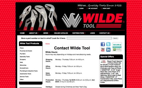 Screenshot of Hours Page wildetool.com - Wilde Tool Company - Contact Us - Hours of Operation | Angle Nose Slip Joint Pliers - Combination Slip Joint Pliers - Tongue and Groove Pliers - Pipe Wrench Pliers - Pry Bars - Punches - Chisels - Gasket Scrapers - Wrenches - Screwdrivers - captured Oct. 26, 2014