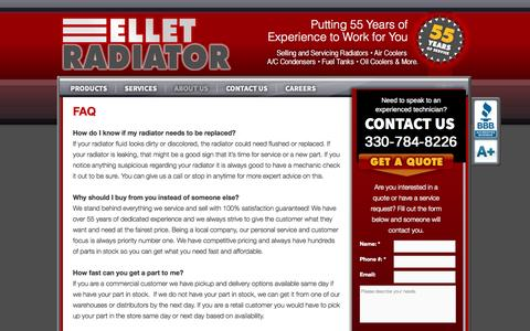 Screenshot of FAQ Page elletradiator.com - FAQ | Ellet Radiator - captured Oct. 2, 2014