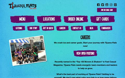 Screenshot of Jobs Page tijuanaflats.com - Careers - Tijuana Flats - captured Nov. 11, 2018