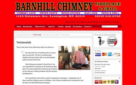 Screenshot of Testimonials Page barnhillchimney.com - Testimonials » Barnhill Chimney Company - captured Oct. 5, 2014