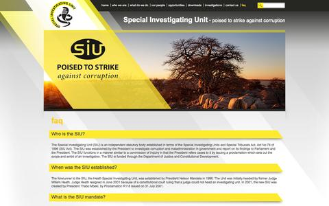 Screenshot of FAQ Page siu.org.za - faq | Special Investigating Unit - captured Oct. 6, 2014