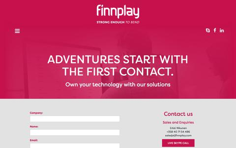 Screenshot of Contact Page finnplay.com - Finnplay - ADVENTURES START WITH THE FIRST CONTACT. - captured June 6, 2017