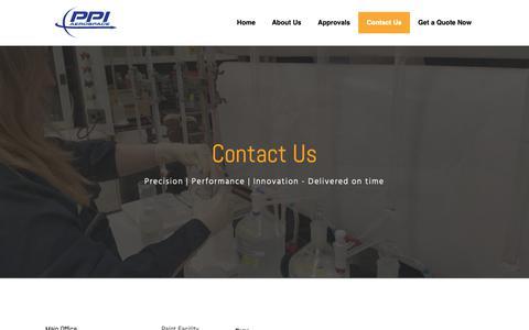 Screenshot of Contact Page ppiaerospace.com - Contact Us - PPI Aerospace - captured Dec. 7, 2018