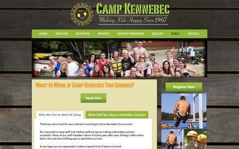 Screenshot of Jobs Page campkennebec.com - Summer Camp Jobs Ontario - Work at Camp Kennebec - captured Dec. 7, 2015