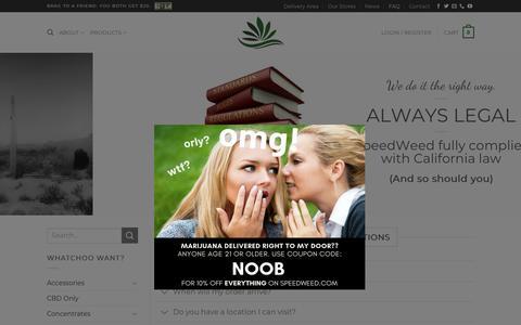 Screenshot of FAQ Page speedweed.com - FAQ ⋆ Speed Weed Marijuana Delivery - captured Feb. 14, 2019