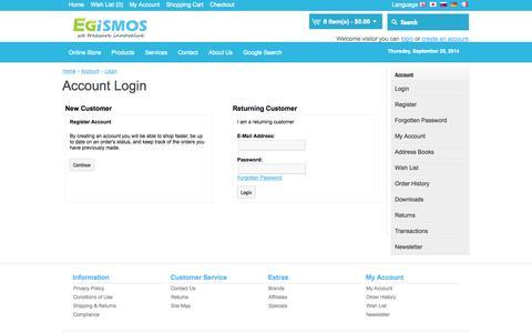 Screenshot of Login Page egismos.com - Account Login - captured Sept. 25, 2014