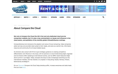 Screenshot of About Page comparethecloud.net - UK's leading Cloud Computing website - Compare the Cloud - captured July 15, 2016
