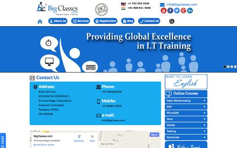 Screenshot of Contact Page bigclasses.com - Contact Us | BigClasses IT Online Training - captured Sept. 25, 2014