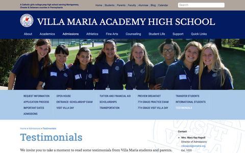 Screenshot of Testimonials Page vmahs.org - Testimonials - Villa Maria Academy High School - captured Oct. 27, 2017