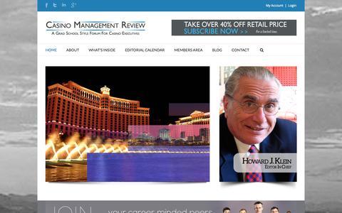 Screenshot of Home Page casinomanagementreview.com - Casino Management Review - captured Sept. 29, 2014