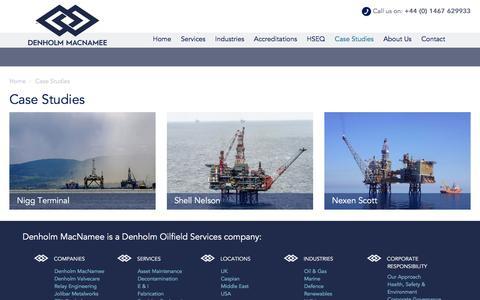 Screenshot of Case Studies Page denholm-macnamee.com - Case Studies - captured Feb. 9, 2016