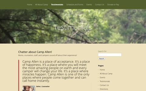 Screenshot of Testimonials Page campallennh.org - Testimonials - Camp Allen - captured Oct. 1, 2014
