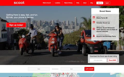 Screenshot of Home Page scootnetworks.com - Scoot Networks - Electric scooter rentals for $2 one-way anywhere. - captured Nov. 3, 2015