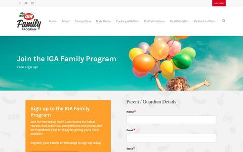 Screenshot of Signup Page iga.com.au - Sign up to join IGA Family Program - Register your details - captured Nov. 25, 2018