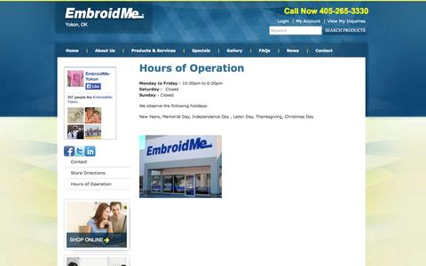 Screenshot of Hours Page embroidme-yukon.com - Hours of Operation | EmbroidMe  | EmbroidMe Yukon OKC-logo- monogram-fundraising-garment printing-screen printing- promotional products - captured Oct. 27, 2014