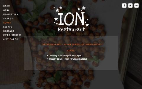 Screenshot of Hours Page ionrestaurant.com - ION Restaurant Hours — ION Restaurant - captured Dec. 19, 2018