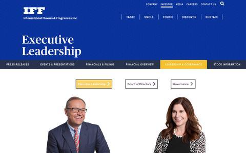 Screenshot of Team Page iff.com - Executive Leadership | International Flavors & Fragrances Inc. - captured Sept. 19, 2018