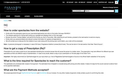 Screenshot of FAQ Page paranjpeopticians.co.in - FAQ   Paranjpe Opticians - captured July 11, 2016