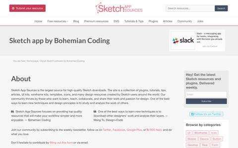 Screenshot of About Page sketchappsources.com - History and all features Sketch 2 and Sketch 3 Software by Bohemian Coding - captured Jan. 15, 2016