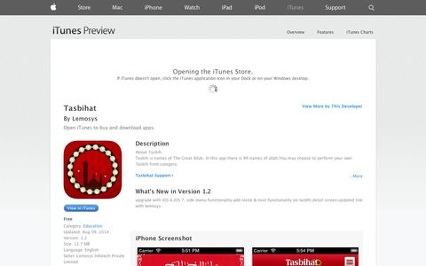 Screenshot of iOS App Page apple.com - Tasbihat on the App Store on iTunes - captured Oct. 22, 2014