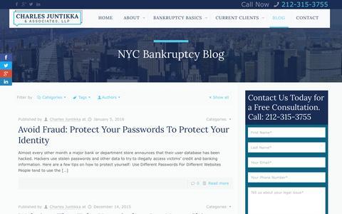 Screenshot of Blog cjalaw.com - NYC Bankruptcy Blog - Charles Juntikka & Associates, LLPCharles Juntikka & Associates - captured Jan. 27, 2016