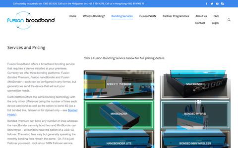 Screenshot of Services Page fusionbroadband.com.au - Fusion Broadband - Bonding Services and Pricing Details - captured June 6, 2017