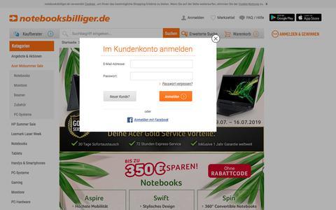 Screenshot of Login Page notebooksbilliger.de - Acer Midsummer Sale bei notebooksbilliger.de - captured July 10, 2019