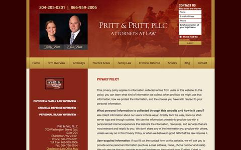 Screenshot of Privacy Page prittlaw.com - Privacy Policy | Pritt & Pritt, PLLC | Charleston, West Virginia - captured Oct. 3, 2014